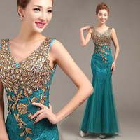 Lace Prom Dresses 2016 Double-Shoulder V Neck Mermaid Beading Prom Party Dress Hot Sale