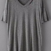 Grey V Neck Cutout Short Sleeve T-shirt