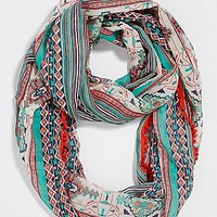 chiffon infinity scarf in ethnic print with pompom trim   maurices