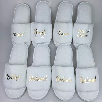 Personalized Title Names Bride Slipper Bridesmaid Maid of Honor Spa Day