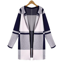 None Button Block Plaid Long-Sleeve Coat