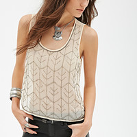 FOREVER 21 Beaded Chiffon Top Nude/Pewter