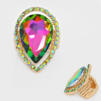 """1.50"""" gold iridescent teardrop stretch cocktail ring"""