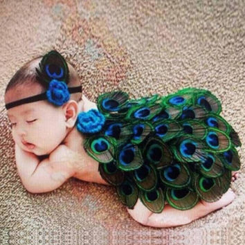 Fashion Infant Newborn Baby Girls Knit Headband and Feather Skirts Photography Accessory Prop (Color: Multicolor) = 1958442948