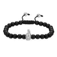 Men's Designer Armour Head Matte Beaded Charm Black Bracelet