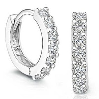 Sterling Silver Hoop Diamond Earrings