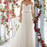 Voyage by Mori Lee 6814 Beaded Off-the Shoulder A-Line Wedding Dress