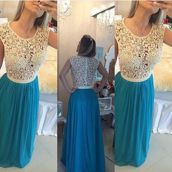 Lace and Chiffon Prom Dresses Pearls Embellishment pst0115