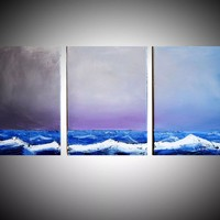 "ARTFINDER: impasto on canvas painting seascape landscape painting large wall art original seascape abstract ""Stormfront"" painting art canvas colour paint blue red white impasto - 27 x 12  inches by Stuart Wright - landscape painting textured impasto artwor"