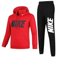 NIKE 2018 new plus velvet men's sports and leisure running clothes two-piece red