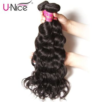 UNice Hair Company Brazilian Hair Weaving Natural Wave 100% Human Hair Bundles 1/3/4 Pieces Remy Hair Extension 8-26inch
