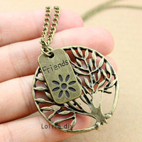 tree of life - ancient bronze tree charm necklace, hope friendship tree, the tree of life, metal chain - friendship Christmas gifts