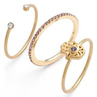 Women's Lonna & Lilly Mixed Rings - Gold/ Purple- Hamsa (Set of 3)