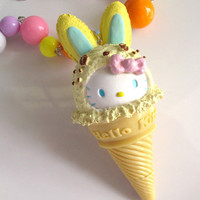 Japan Harajuku Style Kawaii Hello Kitty Lemon Ice Cream Biscuit Cone Chunky pendant Gumballs Candy Colours Beaded Necklace