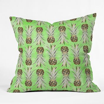 Lisa Argyropoulos Pineapple Jungle Green Outdoor Throw Pillow