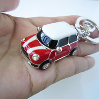 red red body mini car,Personality white gold car keychain, especially,drop of oil plus ,grade crystal,luxury,best gift for you