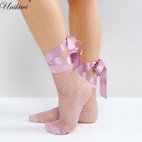 UNIKIWI.Women's Harajuku Candy Color Purple Ribbon Lace up Bow Fishnet Socks.Ladies Sexy Hollow out Mesh Nets Socks Girl's Sox