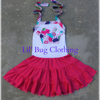 ON SALE NOW Princess Crown Birhday Girl Comfy Knit  Halter Dress Available in sizes 12m 18m 2T 3T 4T 5T 6 7 8 girl