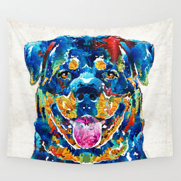 Colorful Rottie Art - Rottweiler by Sharon Cummings Wall Tapestry by Sharon Cummings