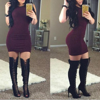 Solid Color Round Neck Bodycon Dress