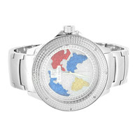 New Steel Back Ice Mania Mens White Globe Face Design Diamond Watch