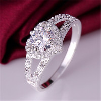 new cute hot sale silver ring jewelry fashion charm woman wedding stone lady high quality crystal Ring -0330
