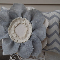 """Gray and oyster chevron burlap pillow  with a large Burlap Flowerchevron burlap, decorative pillow, couch pillow,14"""" x 18"""""""