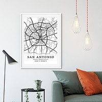 San Antonio City Map Grid Travel Poster