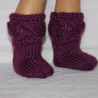 hand knit socks, purple sparkle cable socks, 18 inch doll clothes, american girl, maplelea