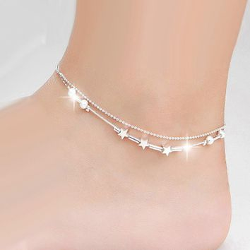 GNIMEGIL Brand Jewelry Fashion Anklet in Silver Color Beads Link Chains Foot Jewellery Star Charm Anklets for Women Metal Anelet