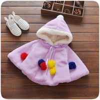 2016 Baby Parka Toddler Girls Snow Wear Baby Coat Bat Wool Sweater Cape Baby Winter Jacket Thick Cotton-Padded Snowsuit Baby
