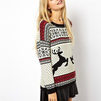 ASOS Christmas Jumper in Reindeer Fairisle at asos.com