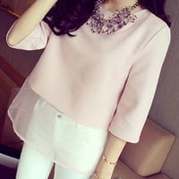 Pink Round Collar 3/4 Sleeve Blouse