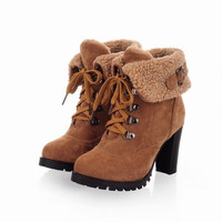 Brown Yellow Black Color Buckle Autumn Winter Faux Fur Womens Ankle Boots Shoes = 1946291268