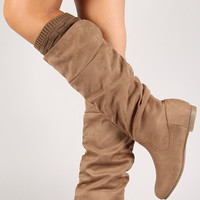 Knit Cuff Slouchy Knee High Boot