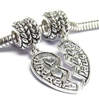 Sterling Silver Mother Daughter Love Heart European Style Dangle Bead Charm
