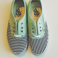 Mint Vans Accented with Black and White Stripes (Women)