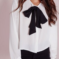 Missguided - Pussybow Crepe Blouse Ivory