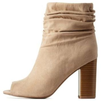 Taupe Ruched Chunky Heel Peep Toe Booties by Charlotte Russe