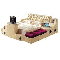 Modern Relaxing Smart Bed with Pure Leather