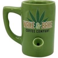 Island Dogs Wake and Bake All in One Ceramic Mug Coffee Cup Pipe Novelty Gifts