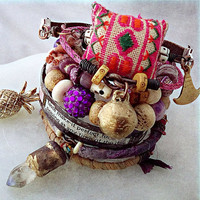 Tribal gypsy bangle set with Hmong embroidery, sari silk, crystal quartz, leather
