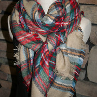 Plaid Tartan Blanket Scarf  Multicolor Plaid Scarf Valentines Gift Scarves Zara Style Plaid 2014 Bloggers Favorite-Sale-Monogramming Avail