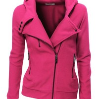 Doublju Women's Fleece Zip-Up High Neck Jacket