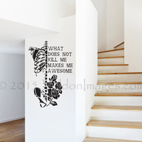 What does not kill me quote wall decal, motivational wall decal, dorm room wall decor, skeleton wall decal, bedroom wall decal, teen decor