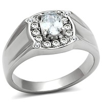 Mens Rings TK353 Stainless Steel Ring with AAA Grade CZ