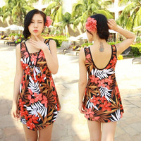 Women Plus Size Floral One Piece Swimsuit Swimwear Swim Dress Swimdress Tankini Top Bathing Suit = 1958104772