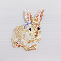 Rabbit Violet Bow Ribbon Cute Animal New Sew on / Iron On Patch Embroidered Applique Size 5.2cm.x8cm.