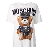 "Hot Sale Moschino ""Leather Clothing Bear"" Fashion Women T Shirt Loose Short Sleeves"