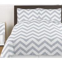 Gray and White Chevron 3 Piece Childrens and Teen Zig Zag Full / Queen Girl or Boy Bedding Set Collection